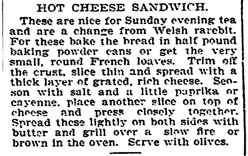 A grilled cheese sandwich recipe,Trenton Evening Times newspaper article 27 June 1901