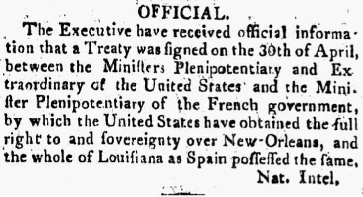 An article about the Louisiana Purchase, Washington Federalist newspaper article 6 July 1803