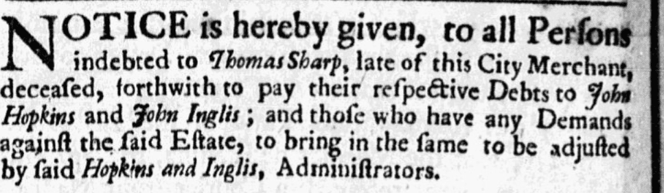 A probate notice for Thomas Sharp, American Weekly Mercury newspaper advertisement 1 November 1739