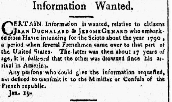 A missing person ad, Aurora General Advertiser newspaper advertisement 22 January 1795