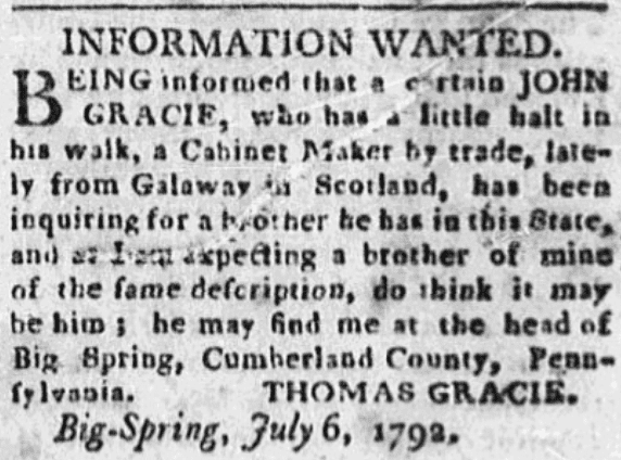 A missing person ad, Carlisle Gazette newspaper advertisement 25 July 1792