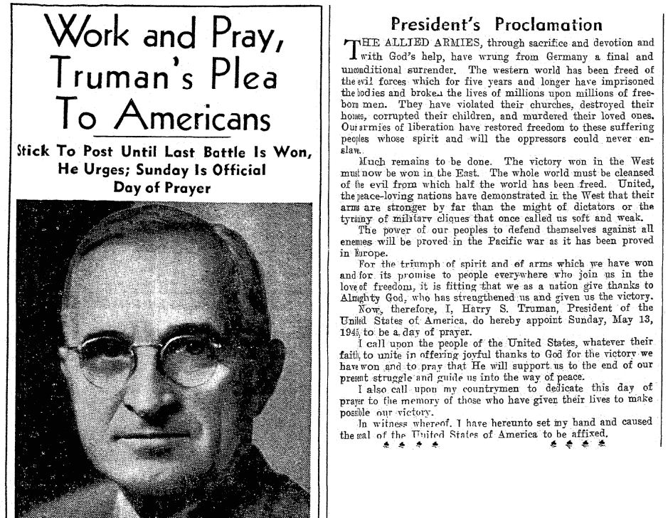 An article about V-E Day, Evansville Press newspaper article 8 May 1945