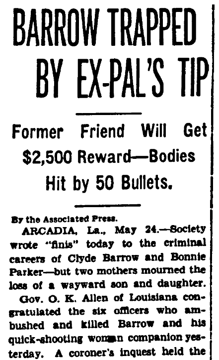An article about Bonnie and Clyde, Evening Star newspaper article 24 May 1934