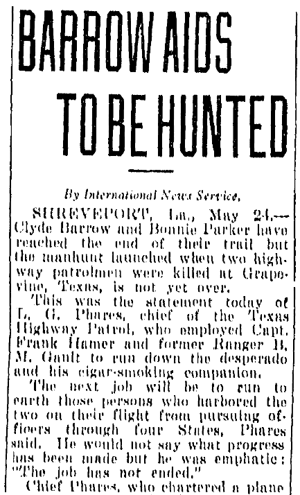 An article about Bonnie and Clyde, Fort Worth Star-Telegram newspaper article 25 May 1934