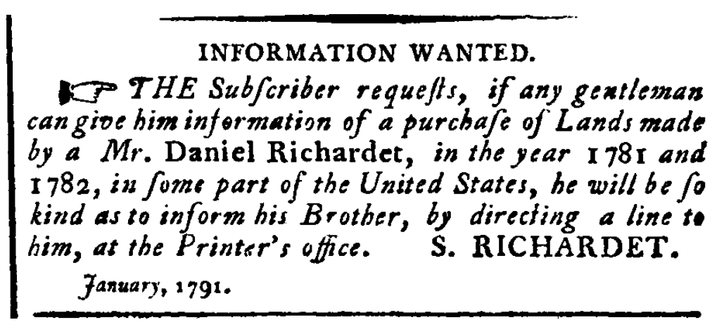 A missing person ad, Gazette of the United States newspaper advertisement 26 January 1791