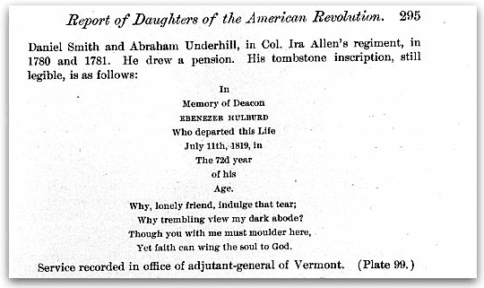 Photo: transcription of the epitaph on Ebenezer Hulburd's tombstone, Fifth report of the National Society of the Daughters of the American Revolution. October 11 1901 – October 11 1902, page 295