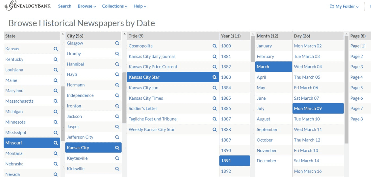 "A screenshot of GenealogyBank showing the new ""Browse by Date"" feature"