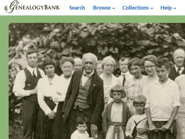 Photo: a screenshot of GenealogyBank's homepage