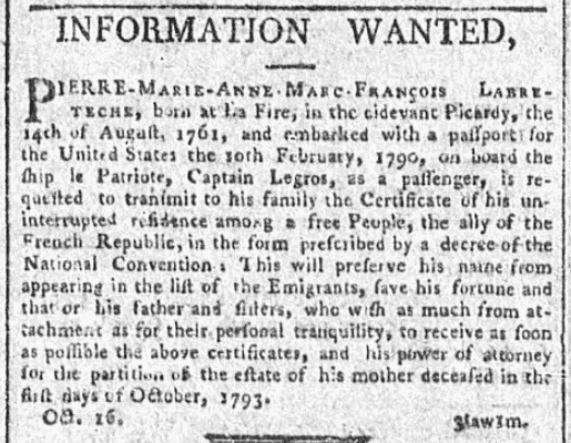 A missing person ad, General Advertiser newspaper advertisement 22 October 1794
