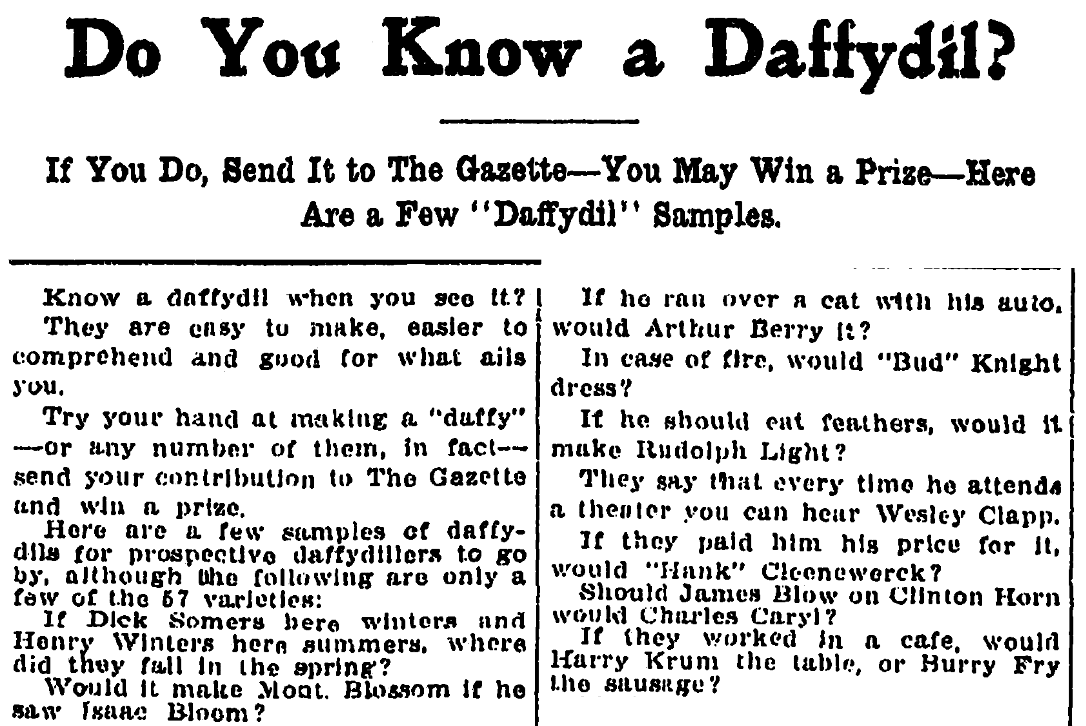 "An article about jokes called ""daffydils,"" Kalamazoo Gazette newspaper article 15 November 1911"