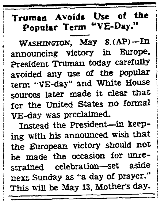 An article about V-E Day, Kansas City Star newspaper article 8 May 1945