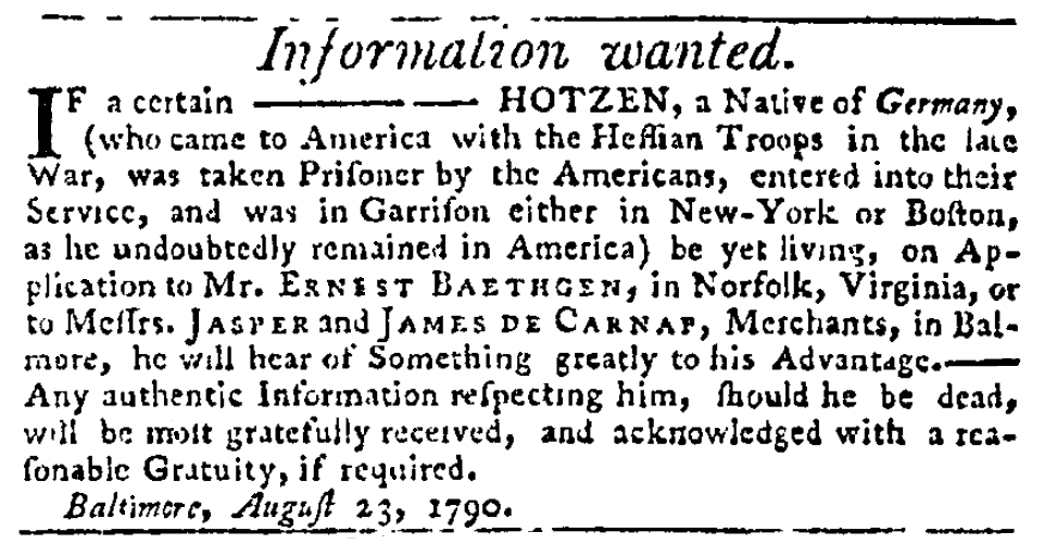 A missing person ad, Maryland Journal newspaper advertisement 24 August 1790