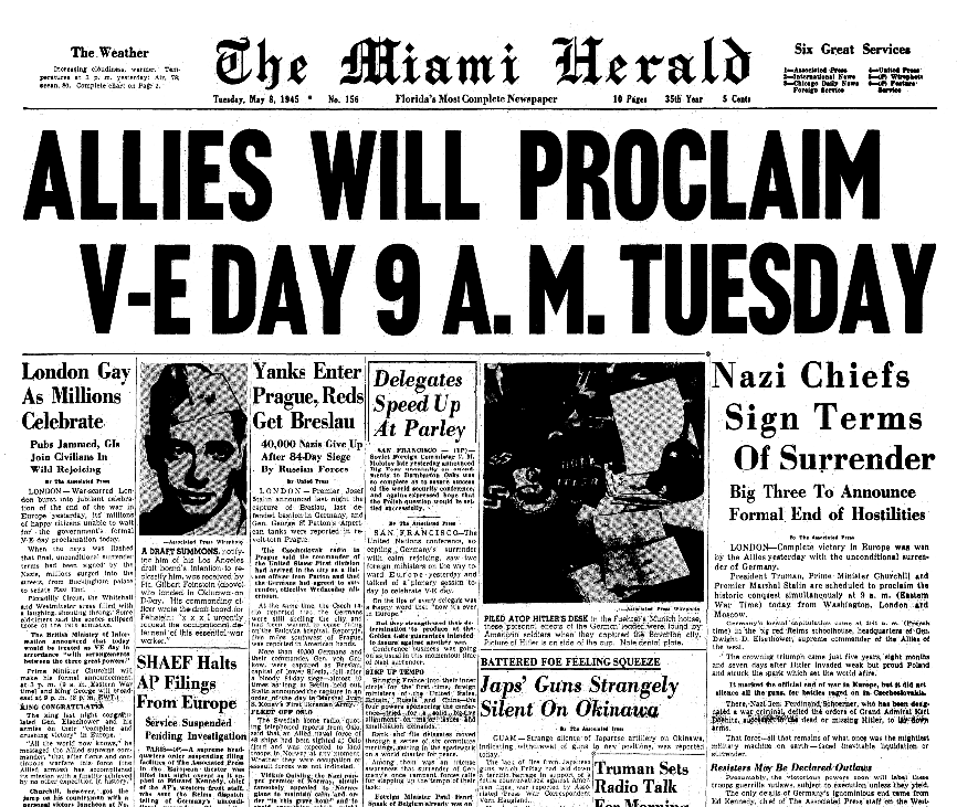 An article about V-E Day, Miami Herald newspaper article 8 May 1945