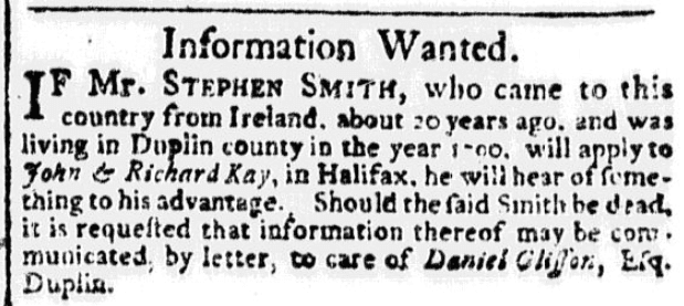 A missing person ad, North-Carolina Journal newspaper advertisement 5 September 1792