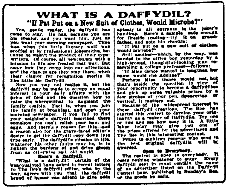 "An article about jokes called ""daffydils,"" Omaha Daily Bee newspaper article 14 January 1912"