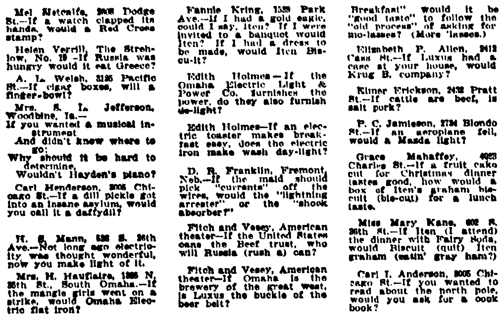 "An article about jokes called ""daffydils,"" Omaha Daily Bee newspaper article 31 December 1911"
