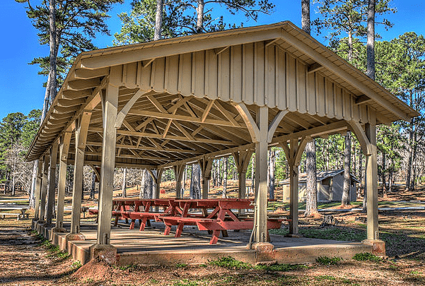 Photo: picnic shelter at Indian Springs State Park, Georgia. Credit: Dsdugan; Wikimedia Commons.