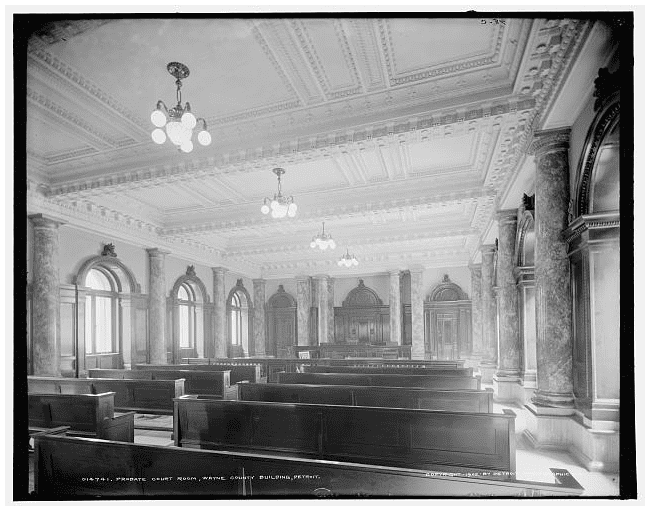 Photo: probate courtroom, Wayne County Building, Detroit, Michigan, c. 1902