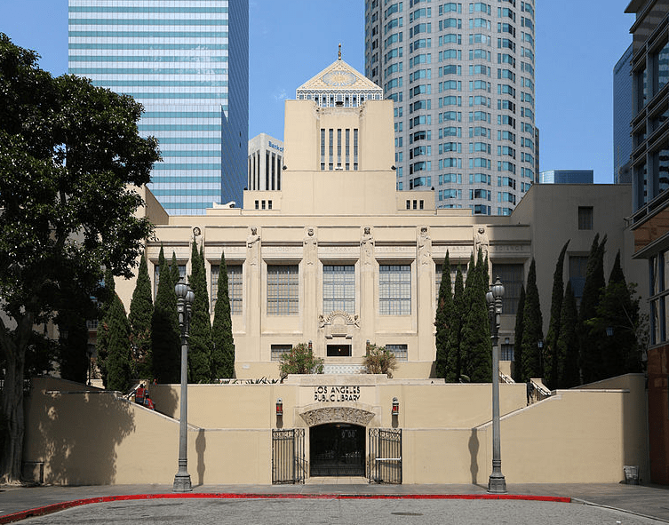 Photo: the South Hope Street entrance of the Los Angeles Central Library in downtown Los Angeles, California