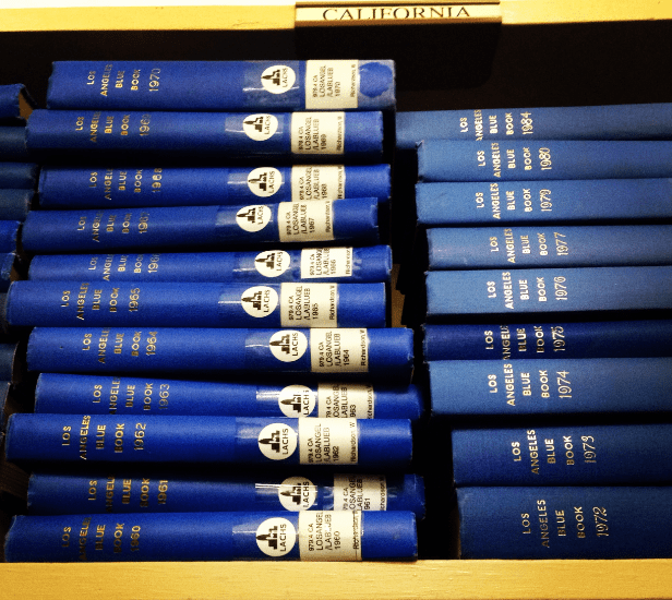 Photo: Blue Books at the Southern California Genealogical Society Library