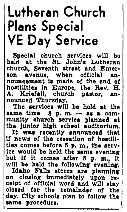 An article about V-E Day, Post-Register newspaper article 3 May 1945