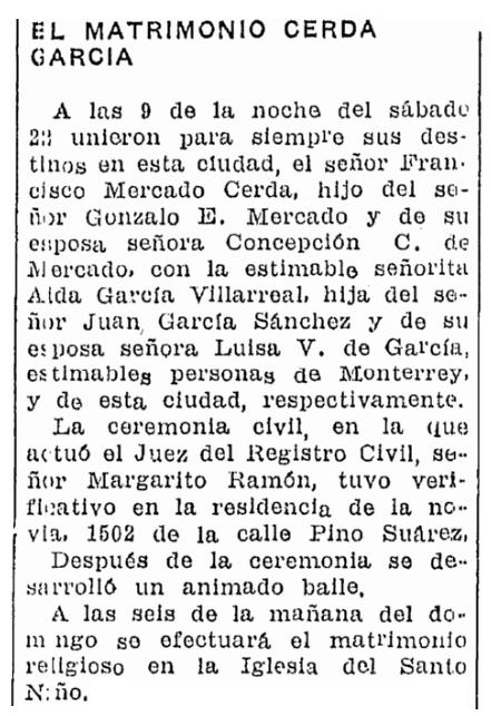 A wedding notice, Prensa newspaper article 23 September 1934