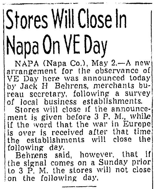 An article about V-E Day, Sacramento Bee newspaper article 2 May 1945