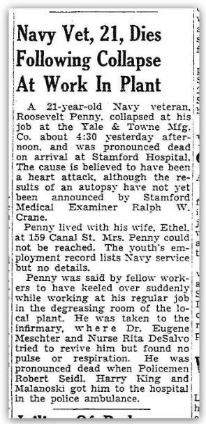 An obituary for Roosevelt Penny, Stamford Advocate newspaper article 24 April 1948