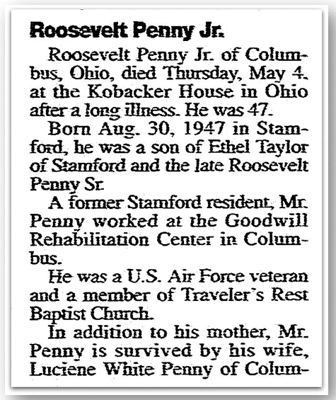 An obituary for Roosevelt Penny, Stamford Advocate newspaper article 6 May 1995