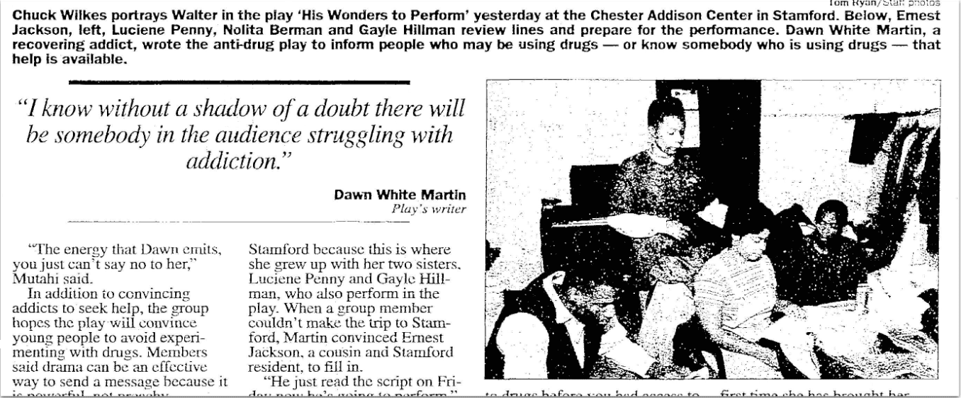 An article about Dawn Martin, Stamford Advocate newspaper article 29 November 1998