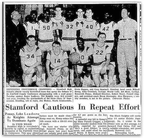 An article about the Stamford High School basketball team, Stamford Advocate newspaper article 10 December 1964