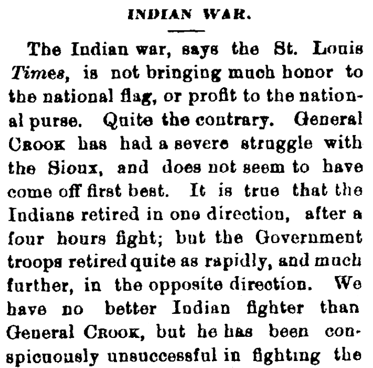An article about the Battle of the Rosebud, Augusta Chronicle newspaper article 30 June 1876