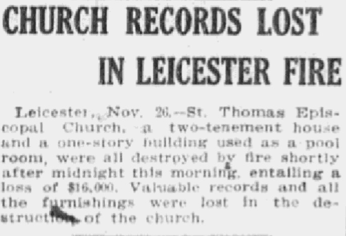 An article about church records, Boston Journal newspaper article 27 November 1911