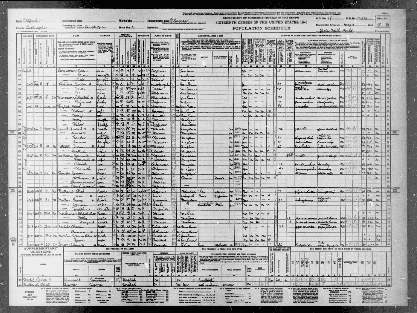 Photo: a California page from the 1940 U.S. Census