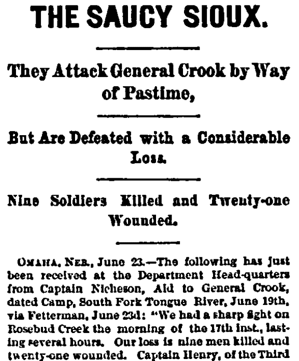 An article about the Battle of the Rosebud, Cincinnati Daily Enquirer newspaper article 24 June 1876