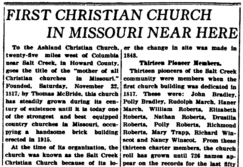 An article about a Christian church, Daily Missourian newspaper article 22 June 1917