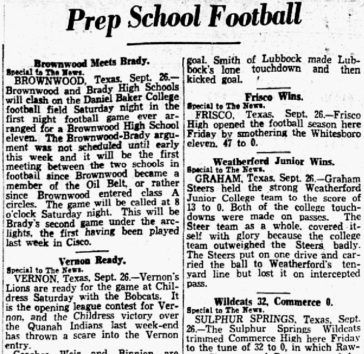 An article about prep school football, Dallas Morning News newspaper article 27 September 1930