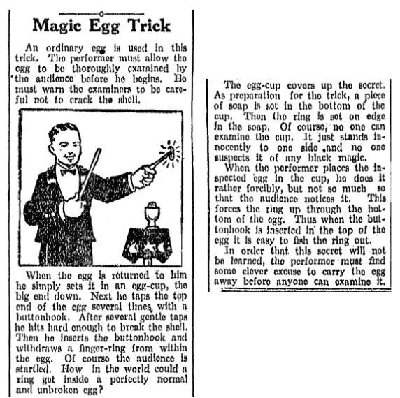 An article about magic tricks, Idaho Statesman newspaper article 20 November 1932