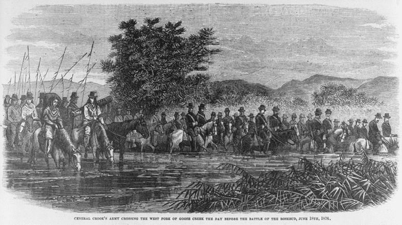 Illustration: General Crook's army crossing the west fork of Goose Creek the day before the Battle of the Rosebud, 16 June 1876