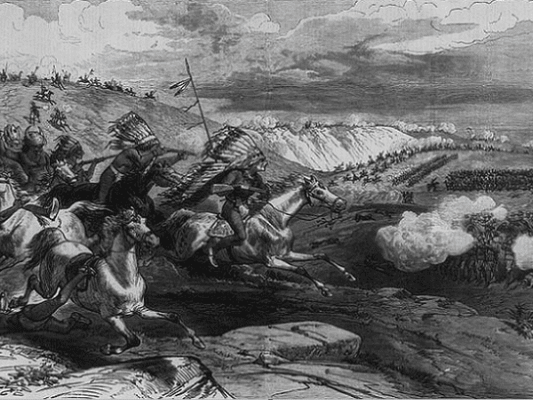 Illustration: the Sioux charging Colonel Royall's detachment of cavalry, June 17th: wood engraving in Frank Leslie's Illustrated Newspaper, 12 August 1876, p. 376. Credit: Library of Congress, Prints and Photographs Division.