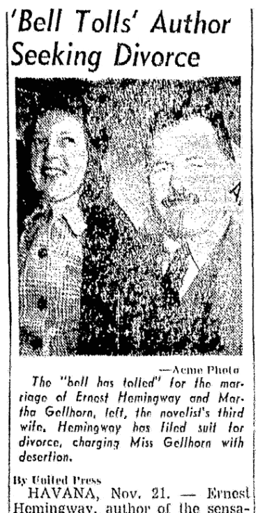 An article about the divorce of Ernest Hemingway and Martha Gellhorn, Knoxville News-Sentinel newspaper article 22 November 1945