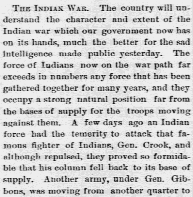 An article about the Battle of the Rosebud, Lowell Daily Citizen and News newspaper article 7 July 1876