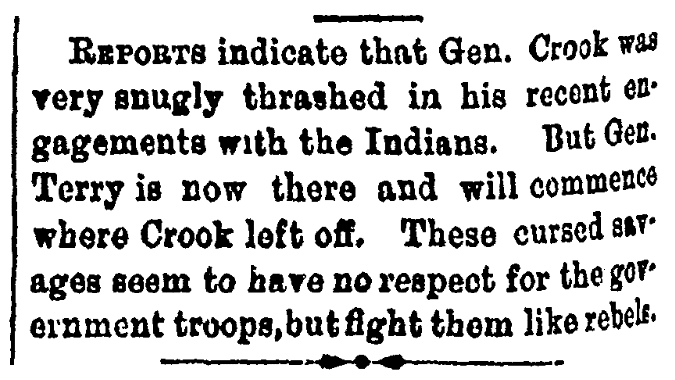 An article about the Battle of the Rosebud, Macon Weekly Telegraph newspaper article 4 July 1876