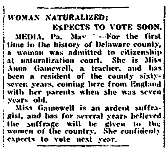 An article about citizenship and naturalization, New Orleans Item newspaper article 9 May 1915