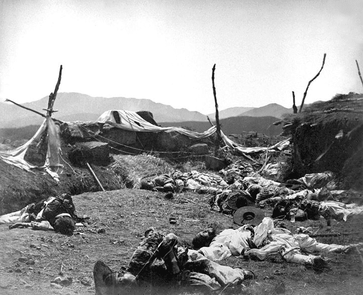 Photo: Korean casualties, interior of Fort Sondolmok (Fort McKee), following its capture by the Americans, June 1871