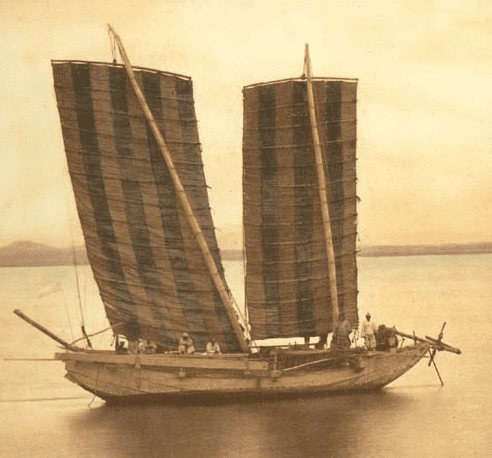 Photo: a Korean junk in 1871, taken by the Americans during the expedition