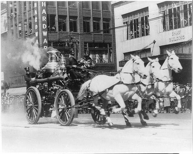 Photo: horse-drawn fire engine, c. 1910