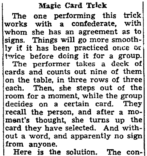 An article about magic tricks, Plain Dealer newspaper article 3 November 1943