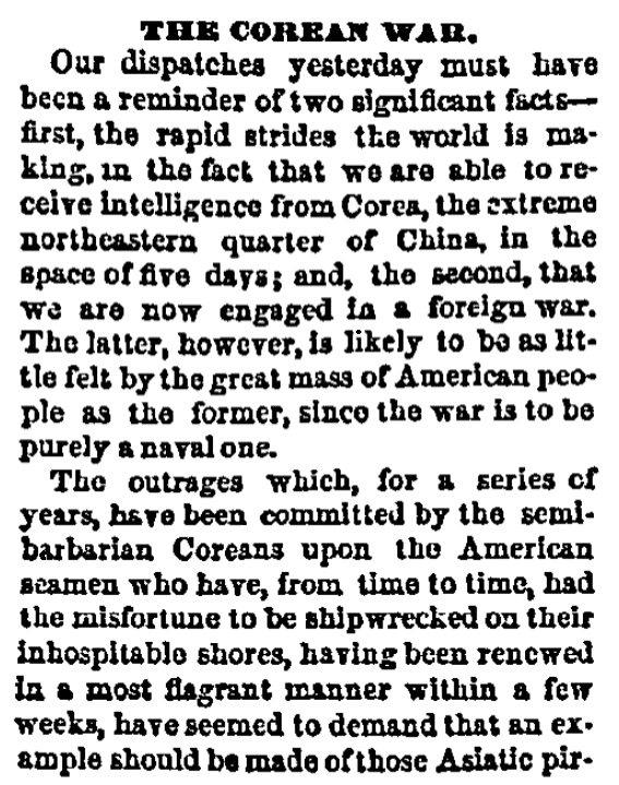 An article about America's first Korean War, Quincy Daily Whig newspaper article 30 June 1871