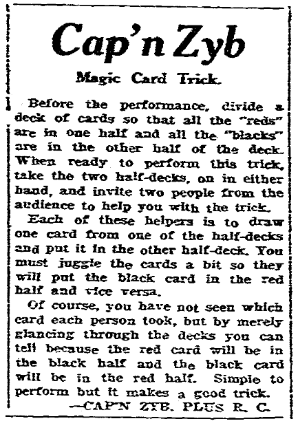 An article about magic tricks, Times-Picayune newspaper article 27 July 1924